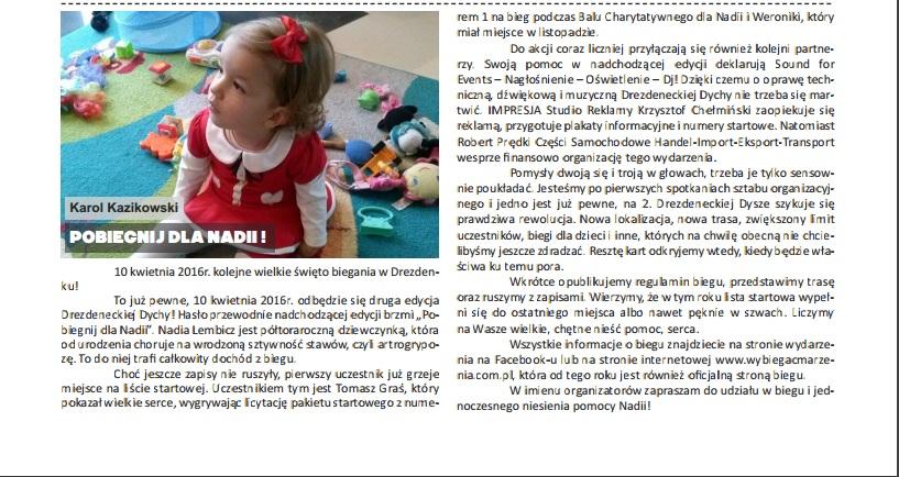 Zapowiedź biegu - Gazeta Drezdenecka - grudzień 2015